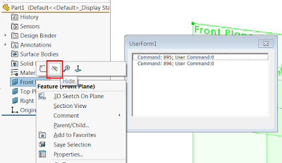 Capturing ID of a SOLIDWORKS hide command