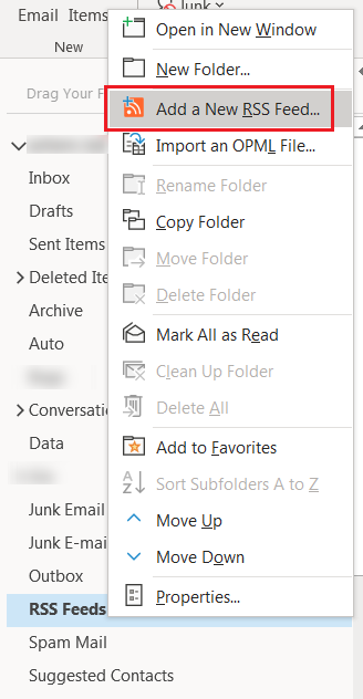 Add new RSS feed to MS Outlook