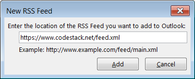 Subscribe to CodeStack feed in MS Outlook